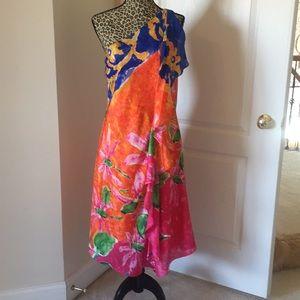 NWT Ralph Lauren, one shoulder cocktail dress 12